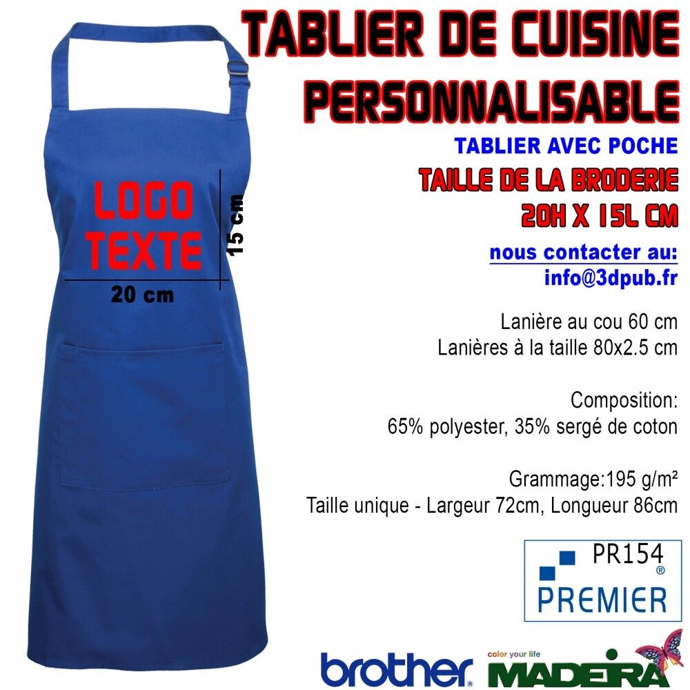 5X Tablier Avec Poche BLEU ROYAL Brodé Personnalisable Café Bar Restaurant
