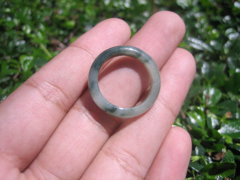 Natural Jadeite Jade Ring Thailand Jewelry Stone Mineral Size 7 Us E 59118