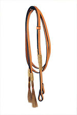 Western Natural  Rawhide Braided Leather Reins with Horse Hair Tassel