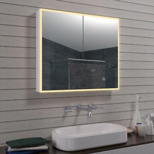 Details zu Aluminium LED Beleuchtung Badezimmer Bad Wand licht Schmink  spiegel schrank 80