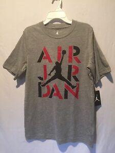 1581fc809764 Boys Nike Air Jordan Jumpman Short Sleeve T-Shirt Gray w Red   Black ...