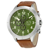 Armani Exchange Men's AX1758 Chronograph Green Dial Brown Leather Watch