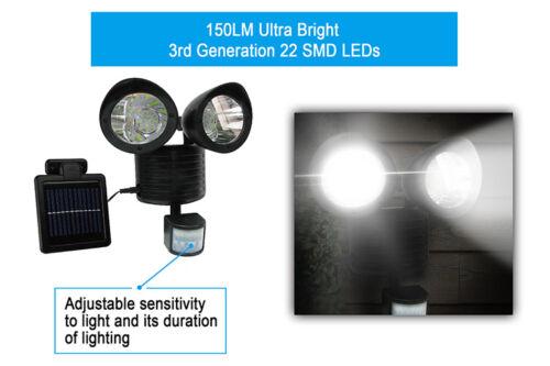 Dual Security Detector Solar Spot Light Motion Sensor Outdoor 22 LED Floodlight