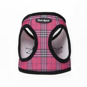 Bark-Appeal-EZ-Wrap-Plaid-Mesh-Dog-Step-In-Harness-Raspberry-Sizes-XXS-XXL