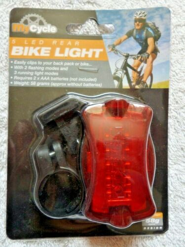ideal for Hikers My Cycle 5 LED Rear Bike Light 2 flashing /& 3 running modes