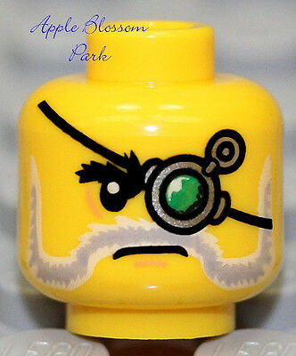 NEW Lego MINIFIG HEAD w/Mechanical Green Glass Monocle Eye Patch & Gray Beard