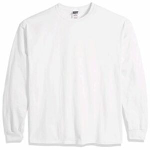 Gildan Men's Ultra Cotton Jersey Long Sleeve Tee Extended, White, Size XX-Large