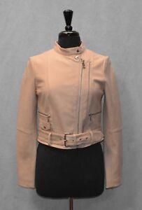fe589ec5b G0 NEW BANANA REPUBLIC HERITAGE Cropped Pink Leather Moto Jacket ...