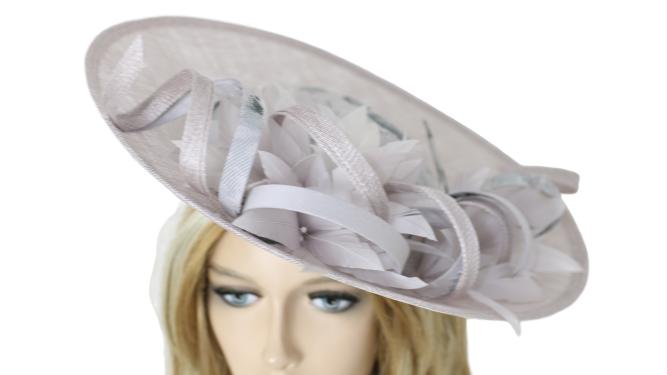 John Charles 26693 Grey Fascinator Mother of the Bride Bridal Wedding Formal Hat