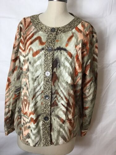 chicos womens size 3 crew neck button jacket