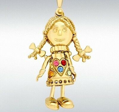 9ct Yellow Gold Multi-coloured Cz Articulated Rag Doll Charm Pendant