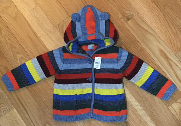 Adorable Baby Gap Striped Hooded Sweater Bear Ears Size 6-12 Months Nwt!!