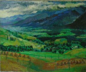 "Unknown Artist UM 1920"" late Summer ALPS LANDSCAPE ""PAINTING"