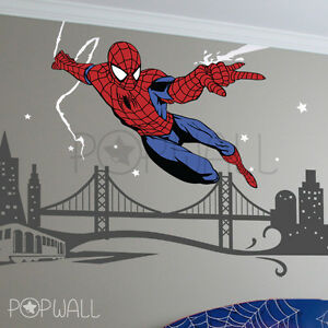 Image is loading Spiderman-Wall-decal-SuperHero-NY-Cityscape-Avengers-Wall-