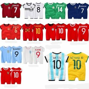 c5a4a2d9a01 Baby Boy Girl World Cup Football Soccer Home Jersey Jumpsuit Outfit ...