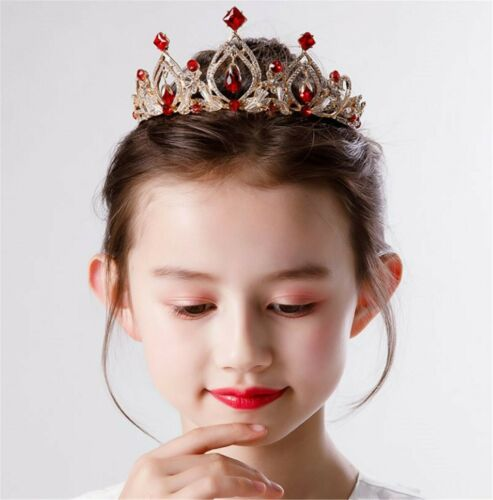 Girls Party Metal Princess elena Queen Red Crystal Gold Crown Head Hair Tiara