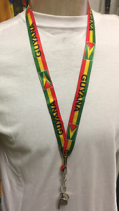 GUYANA-FLAG-CARNIVAL-PARTY-LANYARD-amp-WHISTLE-LENGTH-84cms-x-2cms-33-034-x-3-4-034