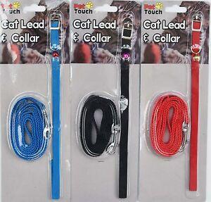 Cat-Kitten-Lead-amp-Collar-in-Red-Blue-Black
