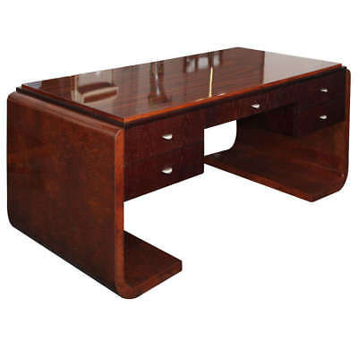Burl, Oak and Rosewood Modernist Desk Made In Italy