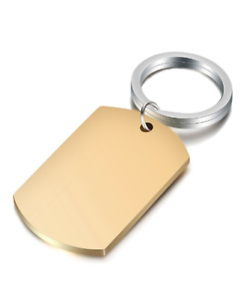 Keyring Man Woman Plate Plaque Steel PVD Gold Engraved Personalized