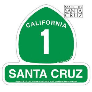 Santa Cruz or California Highway 1 Sticker - Vinyl Decal by Tim Ward
