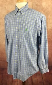 Ralph-Lauren-Polo-Classic-Fit-Button-Down-Blue-Green-Check-Shirt-Men-039-s-15-5-M