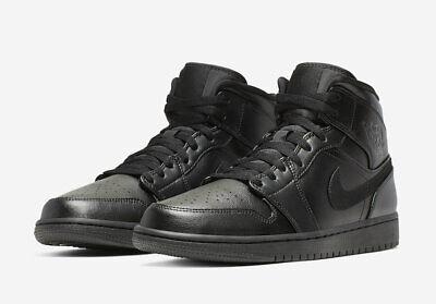 info for 25caa 77dd1 Men's Air Jordan Retro 1 Mid Lifestyle Triple Black Sizes 8-13 NIB  554724-090 | eBay