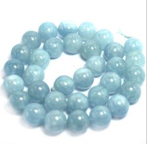 Genuine-8mm-Natural-Aquamarine-Round-Gemstone-Loose-Beads-15-034-Strand-AAA