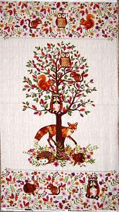 Fox-Wildlife-Animal-Tree-Cotton-Fabric-Enchanted-Forest-Studio-E-24-034-X44-034-Panel