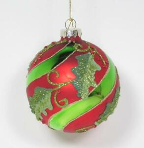 Details About 4 Round Red Green Glass Christmas Tree Ornament With Holly Leaves