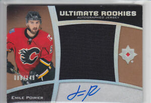 2015-16-UD-ULTIMATE-EMILE-POIRIER-RC-AUTO-JERSEY-149-SILVER-ROOKIE-104-Flames