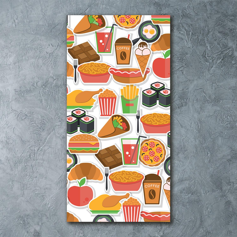 Wandbild Kunst-Druck auf Hart-Glas hochkant 60x120 Fast Food
