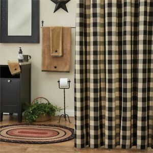 SHOWER-CURTAIN-BLACK-TAN-Buffalo-Check-Fabric-Wicklow-Park-Designs-72-034