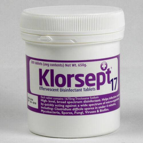 6 x 200 compresse di cloro DISINFETTANTE Compresse NUOVO klorsept Bleach