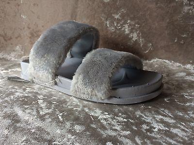 Aggressiv Womens- Girls- Julie -faux Fur-mules-- Sliders- Flats- Grey - Uk Sizes 3 - 8 Verkaufsrabatt 50-70%
