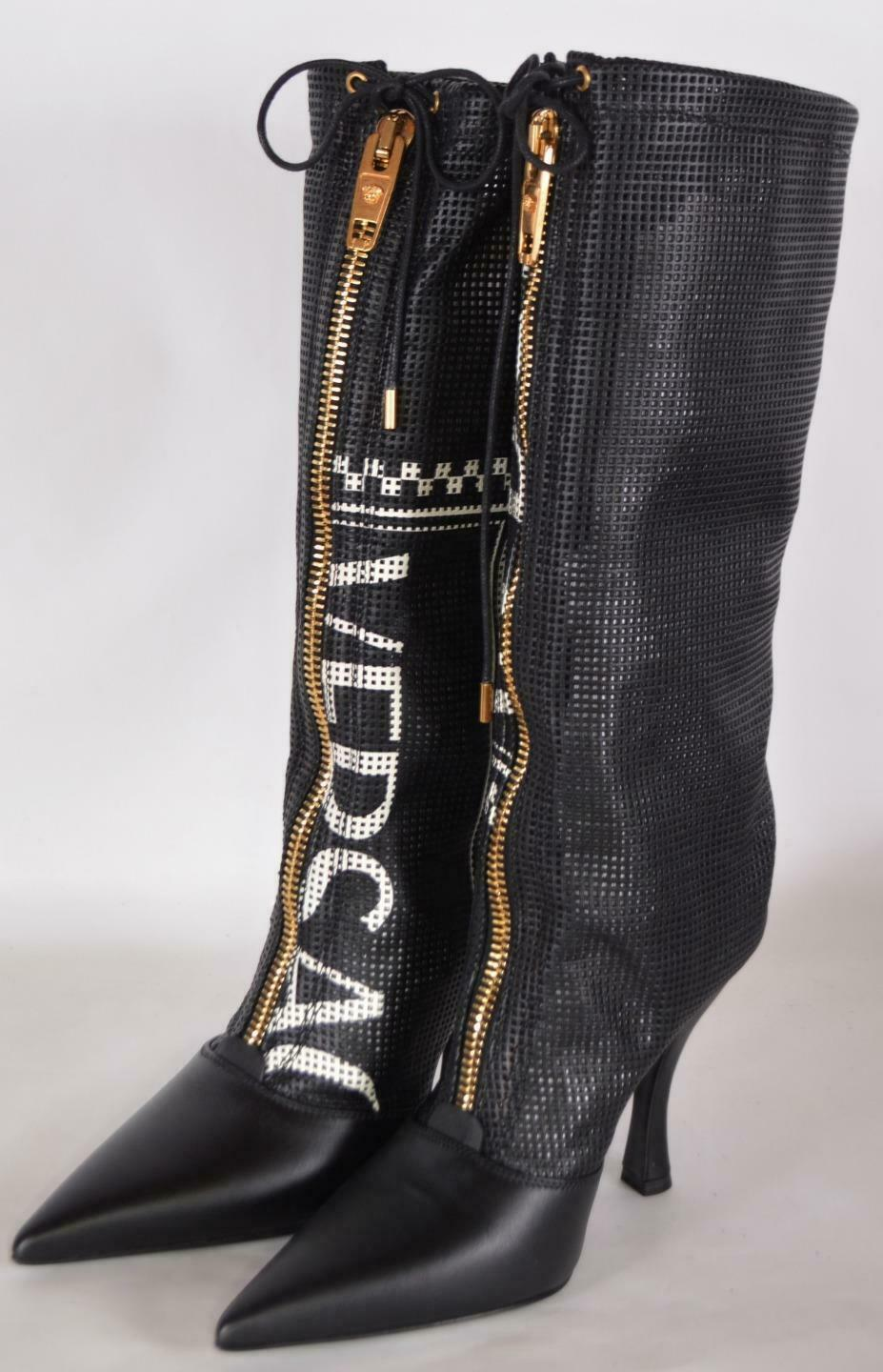 NEW Versace ,095 Black Logo 105 Perforated Leather Runway Boots Shoes 36 6