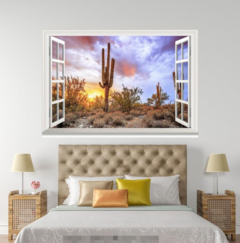 3D Sky Cactus 779 Open Windows WallPaper Murals Wall Print Decal Deco AJ WALL