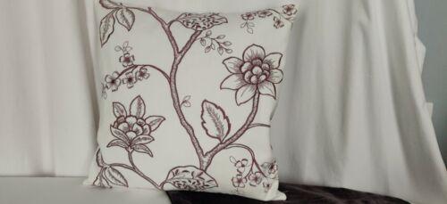 Broderie Imprimé Housse de coussin oreiller Meadow Fleurs en coton blanc réversible