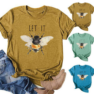 Womens-Bee-Summer-Shirt-Blouse-Sweatshirt-Pullover-Ladies-Tee-Short-Sleeve-Tops