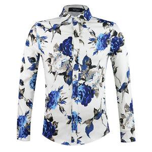 Mens vintage floral shirt long sleeve flower pattern Designer clothing for men online sales