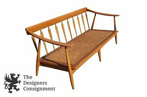 Image Is Loading Mid Century Modern Oak Spindle Back Danish Sofa