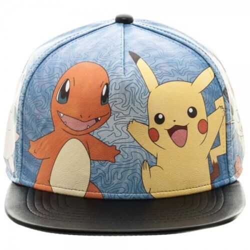 CHARMANDER POKEMON-Pikachu Squirtle stampato PU Cappellino BULBASAUR