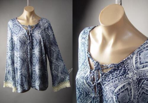 Blue White Moroccan Bandana Print Lace Up Peasant Top 211 mv Blouse XL 2XL 3XL