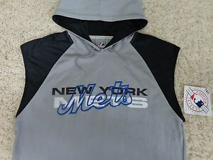 quality design b97f2 4e718 Details about New York Mets HOODIE Shirt Sleeve less Very Rare Sewn Logo By  Majestic ( L )