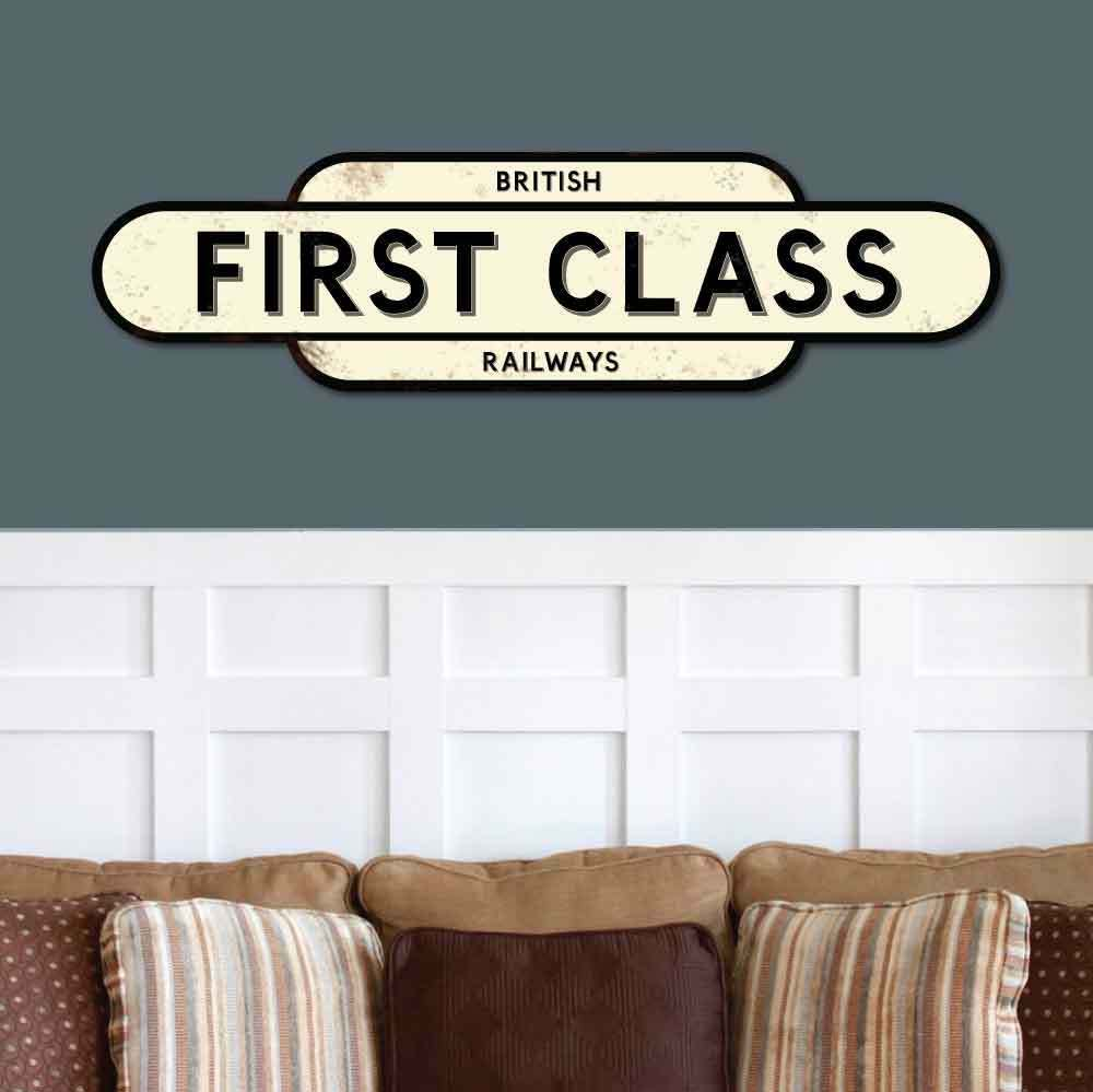 Vintage Style FIRST CLASS Sign, Railway Train Station Sign, Train Totem Sign