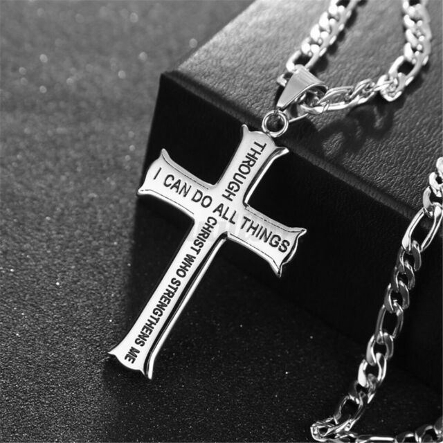 24'' Cross Necklace Stainless Steel Pendant Bible Verse With Curb Chain  Hot