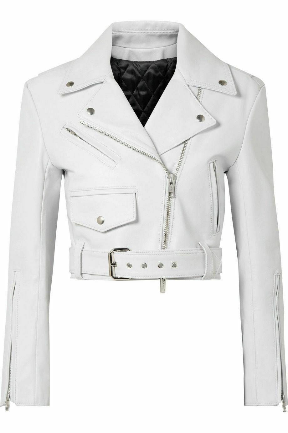 Women's New Style Biker Asymmetrical Zipper Pockets White Leather Jacket