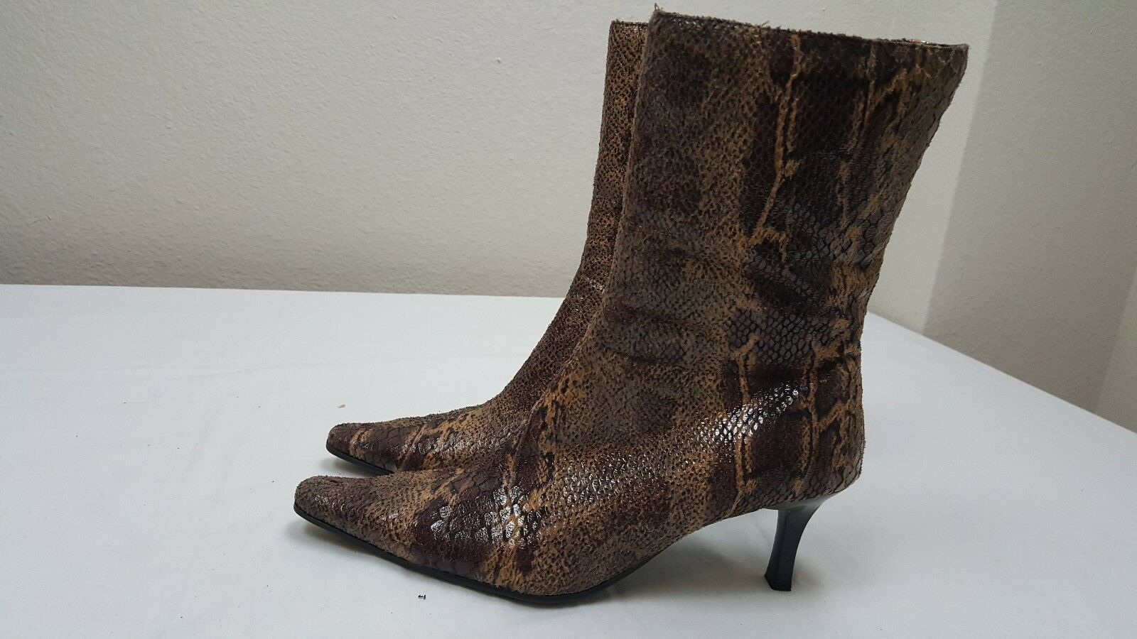 Women's Fioni Brown Faux Snake Heel Tall Ankle Boots Size 6.5