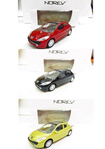 1//64 NOREV Neuf !! Rouge, Noir, Jaune Lot de 3 Peugeot 207 3 Portes