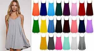 Womens-Cami-Swing-Skater-Dress-Sleeveless-Floaty-Flared-Strappy-Long-Top-UK-8-28